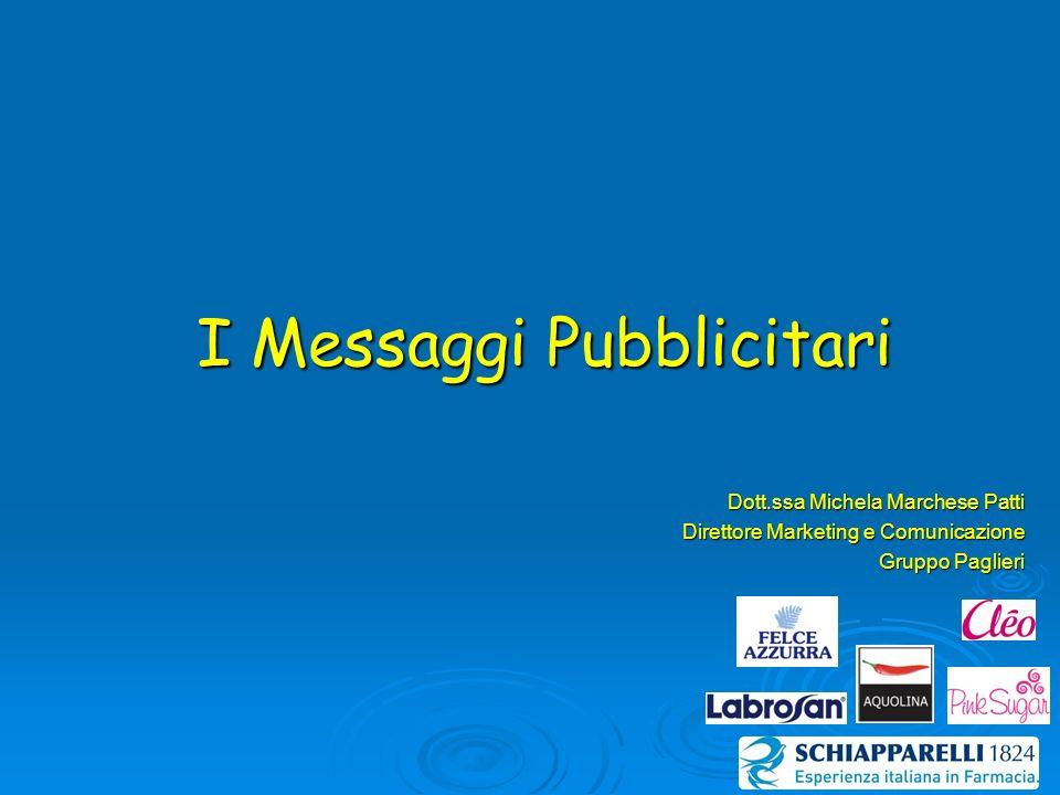 I Messaggi Pubblicitari Dott.ssa Michela Marchese Patti Direttore Marketing e Comunicazione Gruppo Paglieri