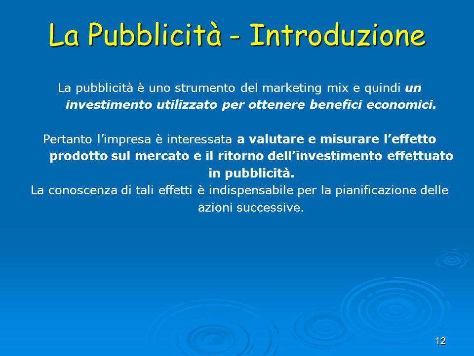 La Pubblicità - Introduzione 12 La pubblicità è uno strumento del marketing mix e quindi un investimento utilizzato per ottenere benefici economici. P