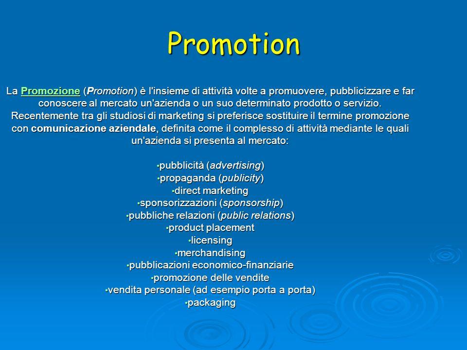 Promotion La Promozione (Promotion) è l'insieme di attività volte a promuovere, pubblicizzare e far conoscere al mercato un'azienda o un suo determina