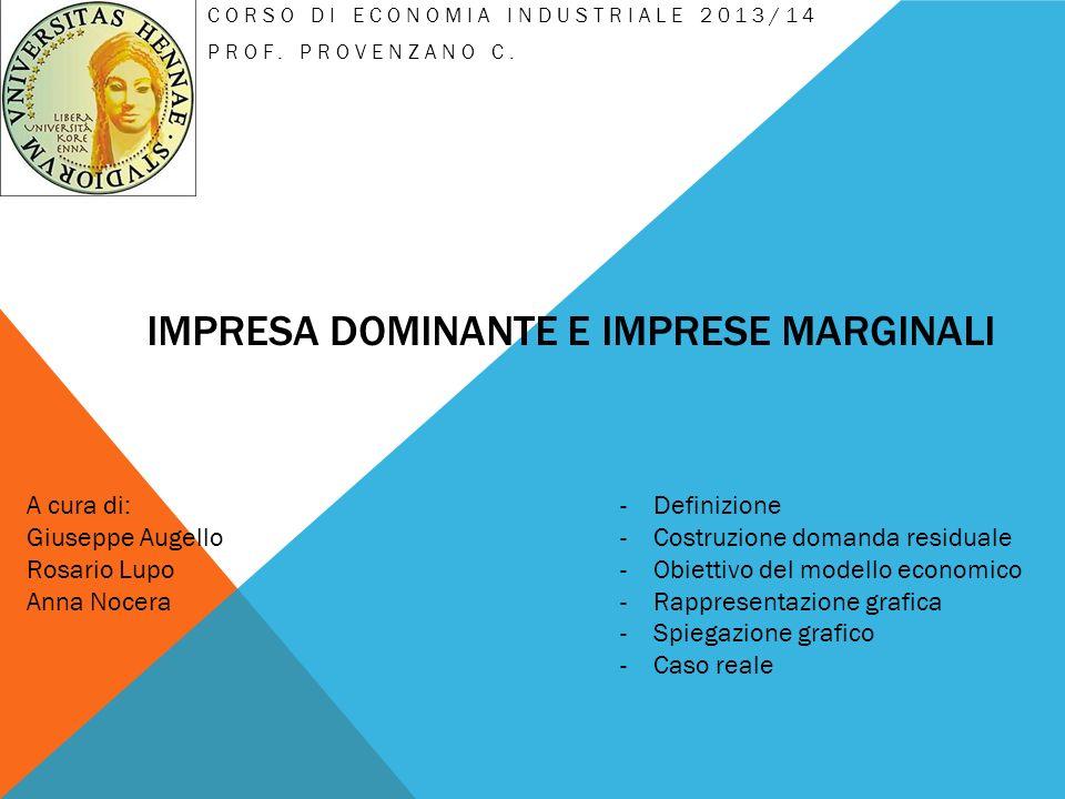 IMPRESA DOMINANTE E IMPRESE MARGINALI CORSO DI ECONOMIA INDUSTRIALE 2013/14 PROF. PROVENZANO C. -Definizione -Costruzione domanda residuale -Obiettivo