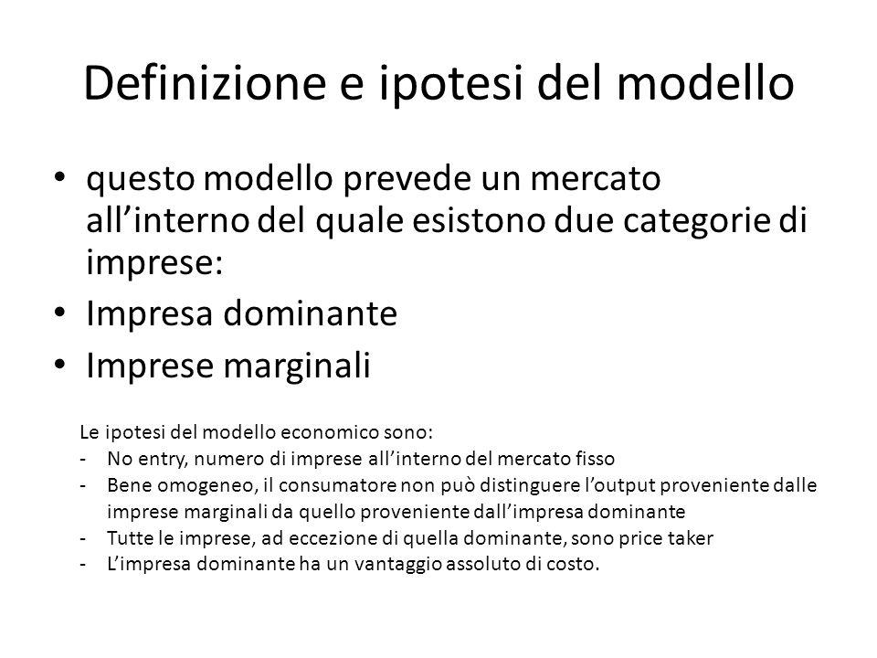 Definizione e ipotesi del modello questo modello prevede un mercato allinterno del quale esistono due categorie di imprese: Impresa dominante Imprese