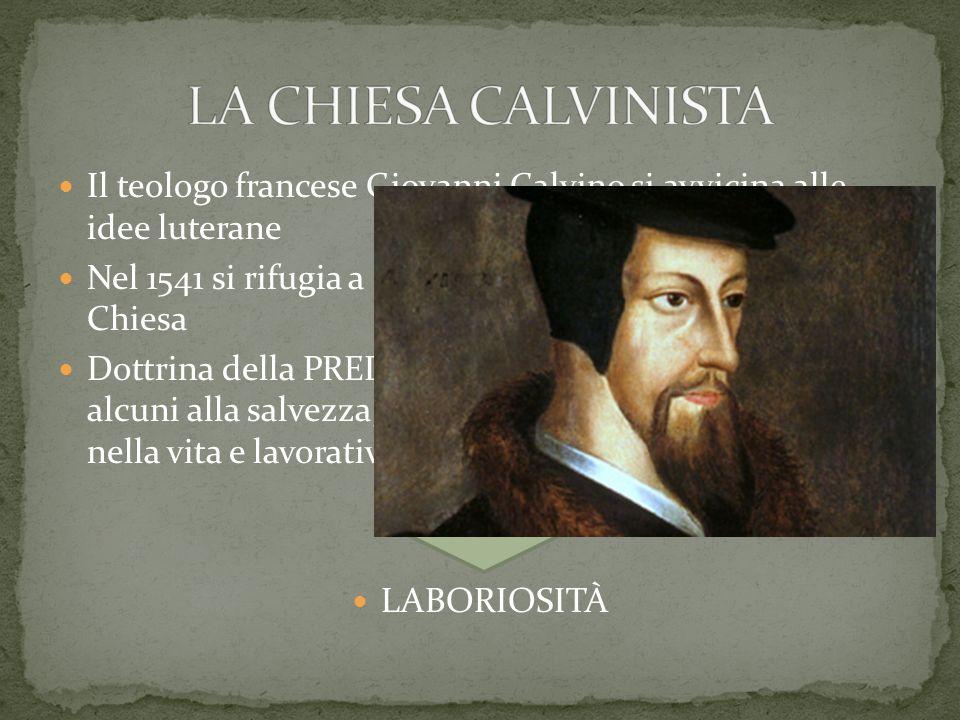 Il teologo francese Giovanni Calvino si avvicina alle idee luterane Nel 1541 si rifugia a Ginevra, dove fonda una nuova Chiesa Dottrina della PREDESTI