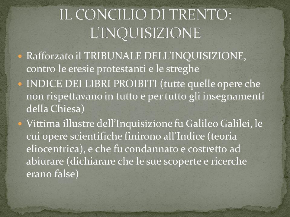 Rafforzato il TRIBUNALE DELLINQUISIZIONE, contro le eresie protestanti e le streghe INDICE DEI LIBRI PROIBITI (tutte quelle opere che non rispettavano