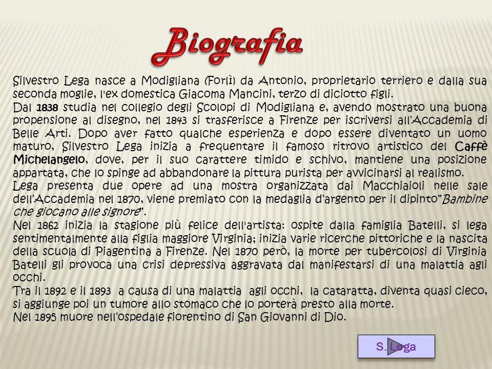 Silvestro Lega nasce a Modigliana (Forlì) da Antonio, proprietario terriero e dalla sua seconda moglie, l'ex domestica Giacoma Mancini, terzo di dicio