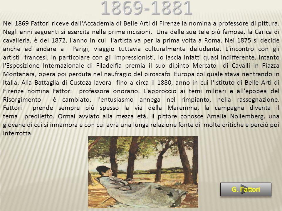 Nel 1869 Fattori riceve dall'Accademia di Belle Arti di Firenze la nomina a professore di pittura. Negli anni seguenti si esercita nelle prime incisio