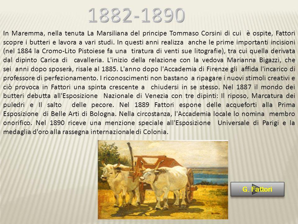In Maremma, nella tenuta La Marsiliana del principe Tommaso Corsini di cui è ospite, Fattori scopre i butteri e lavora a vari studi. In questi anni re