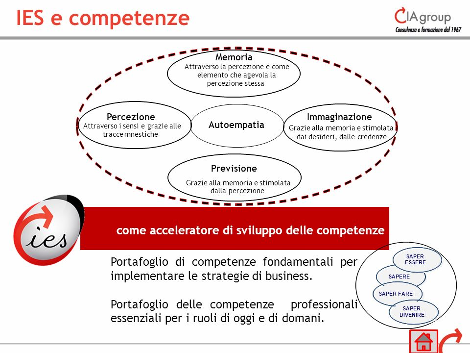 come acceleratore di sviluppo delle competenze Portafoglio di competenze fondamentali per implementare le strategie di business. Portafoglio delle com