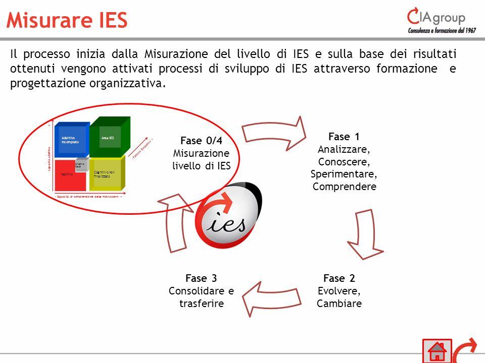 Il processo inizia dalla Misurazione del livello di IES e sulla base dei risultati ottenuti vengono attivati processi di sviluppo di IES attraverso fo