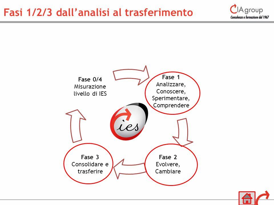 Fase 1 Analizzare, Conoscere, Sperimentare, Comprendere Fase 2 Evolvere, Cambiare Fase 3 Consolidare e trasferire Fase 0/4 Misurazione livello di IES