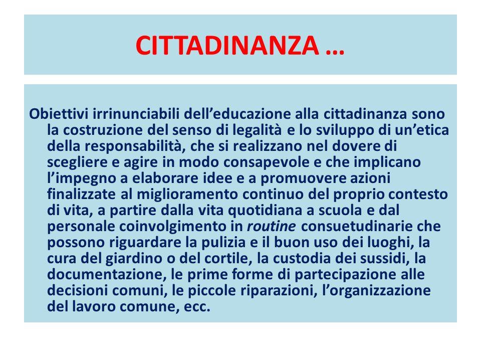 CITTADINANZA … Obiettivi irrinunciabili delleducazione alla cittadinanza sono la costruzione del senso di legalità e lo sviluppo di unetica della resp
