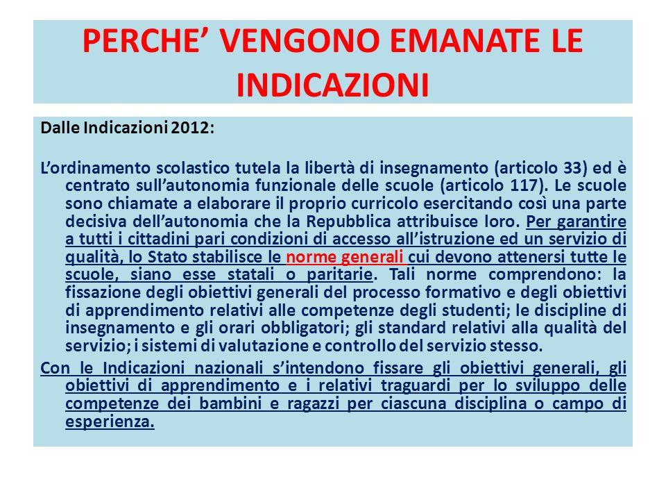 PERCHE VENGONO EMANATE LE INDICAZIONI Dalle Indicazioni 2012: Lordinamento scolastico tutela la libertà di insegnamento (articolo 33) ed è centrato su