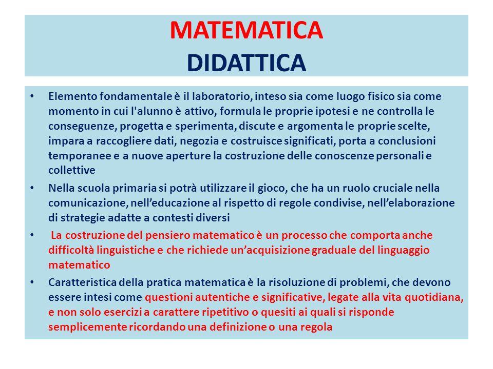 MATEMATICA DIDATTICA Elemento fondamentale è il laboratorio, inteso sia come luogo fisico sia come momento in cui l'alunno è attivo, formula le propri