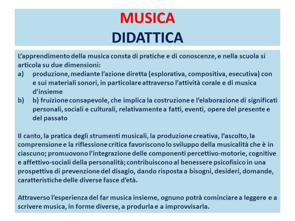 MUSICA DIDATTICA Lapprendimento della musica consta di pratiche e di conoscenze, e nella scuola si articola su due dimensioni: a)produzione, mediante