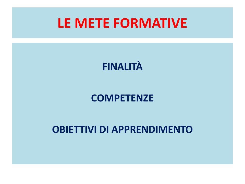 LE METE FORMATIVE FINALITÀ COMPETENZE OBIETTIVI DI APPRENDIMENTO
