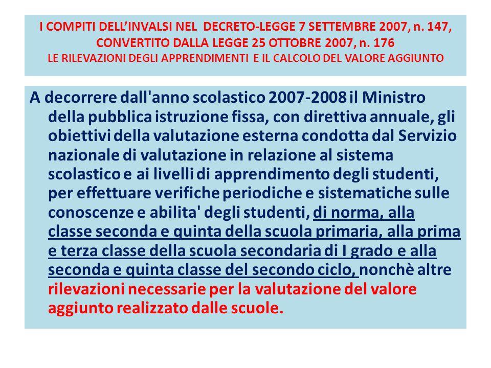 I COMPITI DELLINVALSI NEL DECRETO-LEGGE 7 SETTEMBRE 2007, n. 147, CONVERTITO DALLA LEGGE 25 OTTOBRE 2007, n. 176 LE RILEVAZIONI DEGLI APPRENDIMENTI E