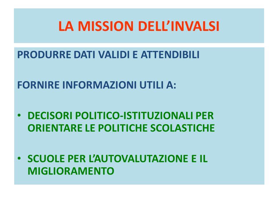 LA MISSION DELLINVALSI PRODURRE DATI VALIDI E ATTENDIBILI FORNIRE INFORMAZIONI UTILI A: DECISORI POLITICO-ISTITUZIONALI PER ORIENTARE LE POLITICHE SCO