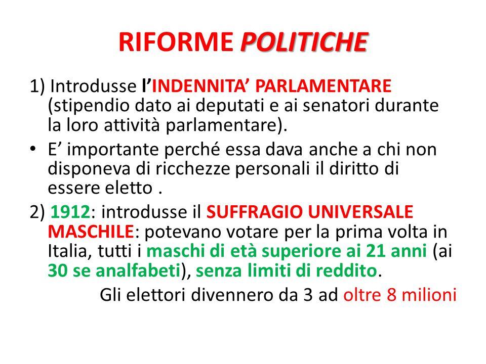 POLITICHE RIFORME POLITICHE 1) Introdusse lINDENNITA PARLAMENTARE (stipendio dato ai deputati e ai senatori durante la loro attività parlamentare). E