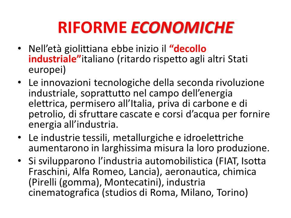 ECONOMICHE RIFORME ECONOMICHE Nelletà giolittiana ebbe inizio il decollo industrialeitaliano (ritardo rispetto agli altri Stati europei) Le innovazion