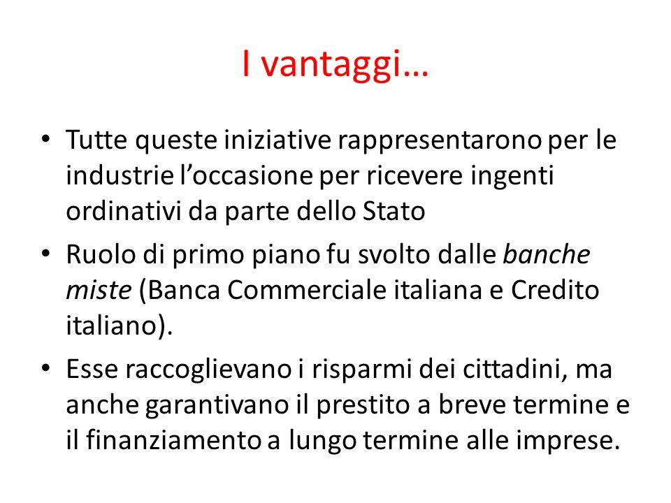 I vantaggi… Tutte queste iniziative rappresentarono per le industrie loccasione per ricevere ingenti ordinativi da parte dello Stato Ruolo di primo piano fu svolto dalle banche miste (Banca Commerciale italiana e Credito italiano).