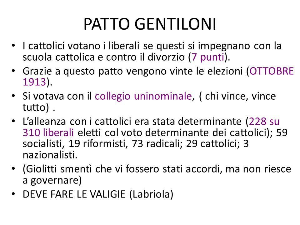 PATTO GENTILONI I cattolici votano i liberali se questi si impegnano con la scuola cattolica e contro il divorzio (7 punti). Grazie a questo patto ven