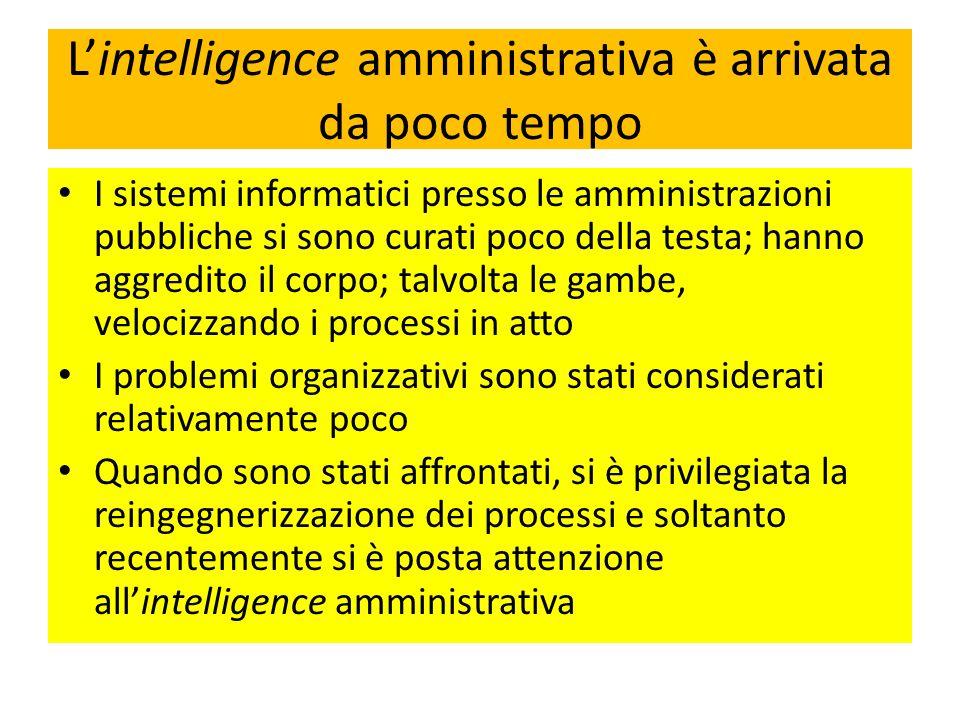 Lintelligence amministrativa è arrivata da poco tempo I sistemi informatici presso le amministrazioni pubbliche si sono curati poco della testa; hanno