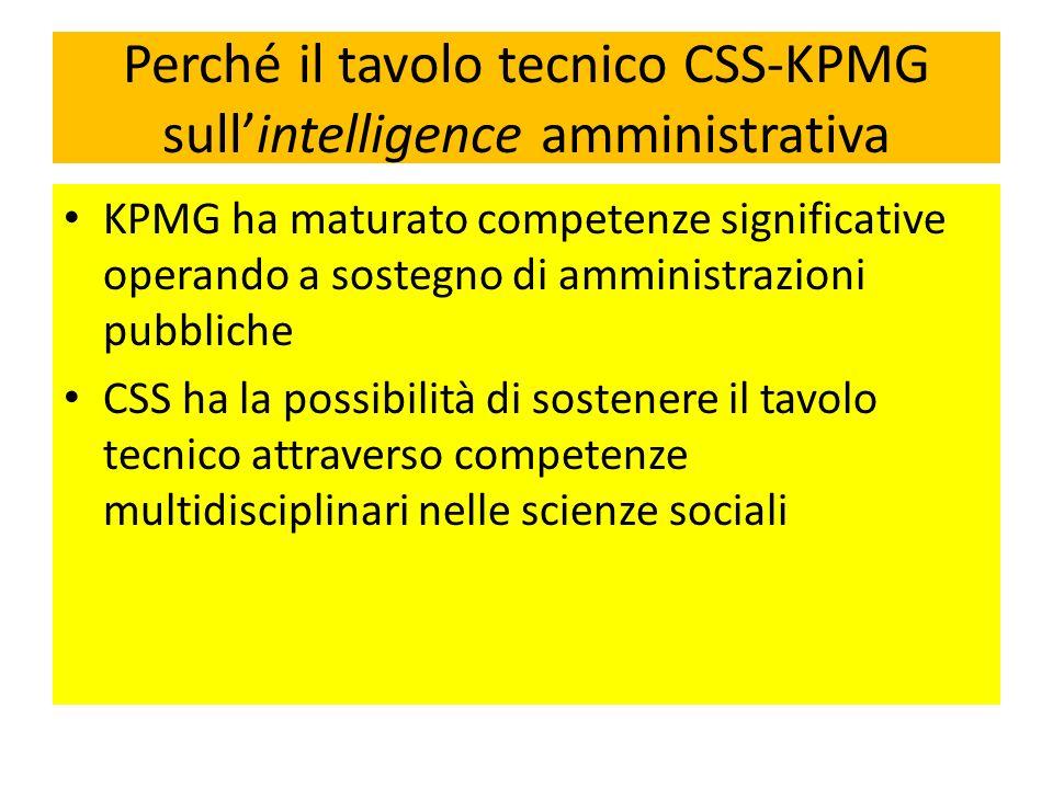 Perché il tavolo tecnico CSS-KPMG sullintelligence amministrativa KPMG ha maturato competenze significative operando a sostegno di amministrazioni pub