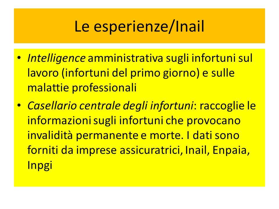 Le esperienze/Inail Intelligence amministrativa sugli infortuni sul lavoro (infortuni del primo giorno) e sulle malattie professionali Casellario cent