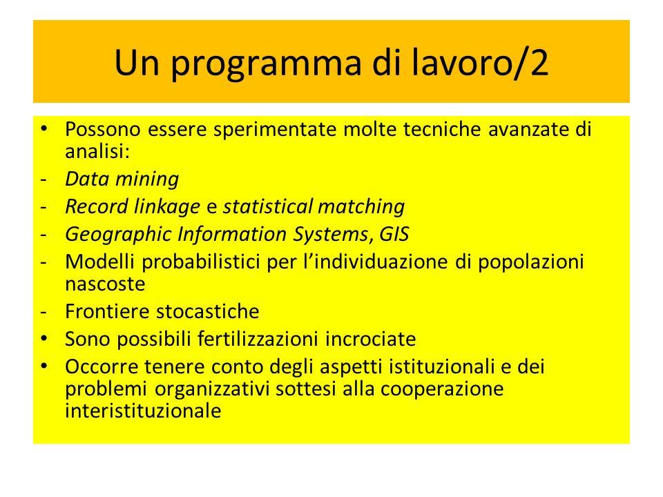 Un programma di lavoro/2 Possono essere sperimentate molte tecniche avanzate di analisi: -Data mining -Record linkage e statistical matching -Geograph