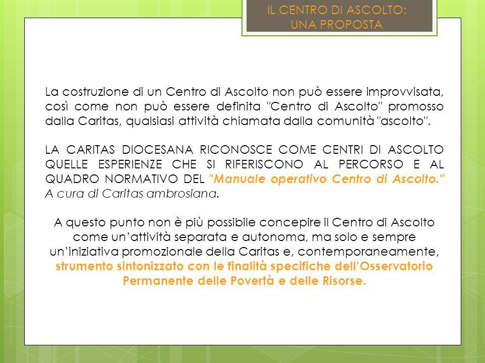 IL CENTRO DI ASCOLTO: UNA PROPOSTA La costruzione di un Centro di Ascolto non può essere improvvisata, così come non può essere definita Centro di Ascolto promosso dalla Caritas, qualsiasi attività chiamata dalla comunità ascolto.
