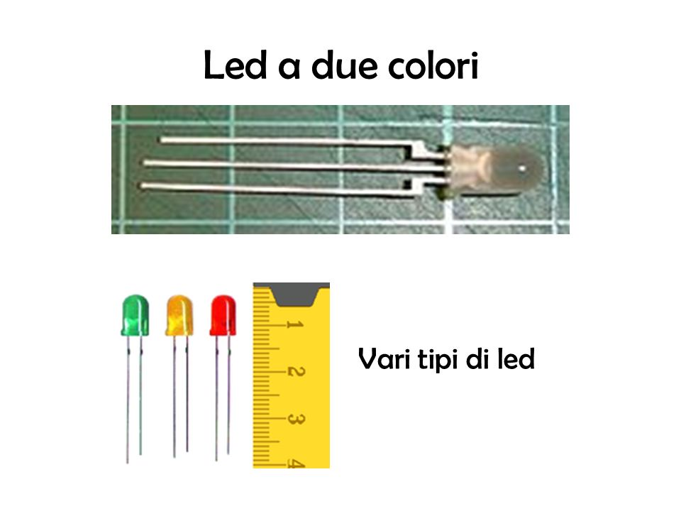 Caratteristiche del led Reversibilità Emissione luminosa : Il led può avere un emissione: Continua, il led emette costantemente luce Intermittente, il led emette luce a intervalli di tempo regolari, cosa ottenibile con circuiti astabili o con led intermittenti Efficienza ed affidabilità Colore della luce emessa : A seconda del drogante utilizzato, i LED producono i vari colori
