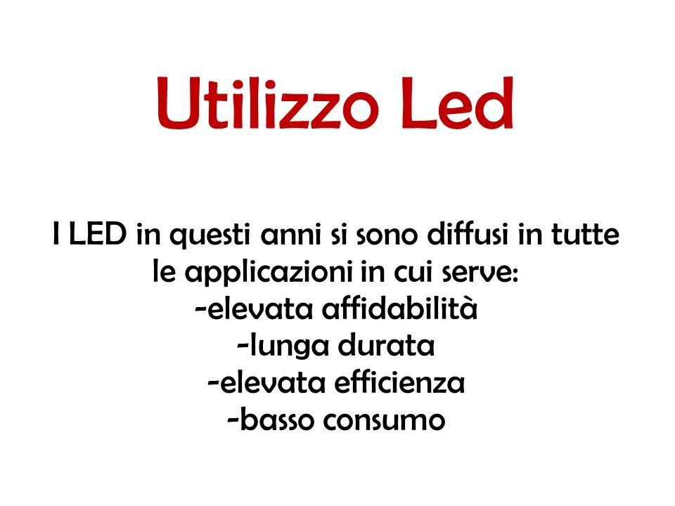 Utilizzo Led I LED in questi anni si sono diffusi in tutte le applicazioni in cui serve: -elevata affidabilità -lunga durata -elevata efficienza -basso consumo