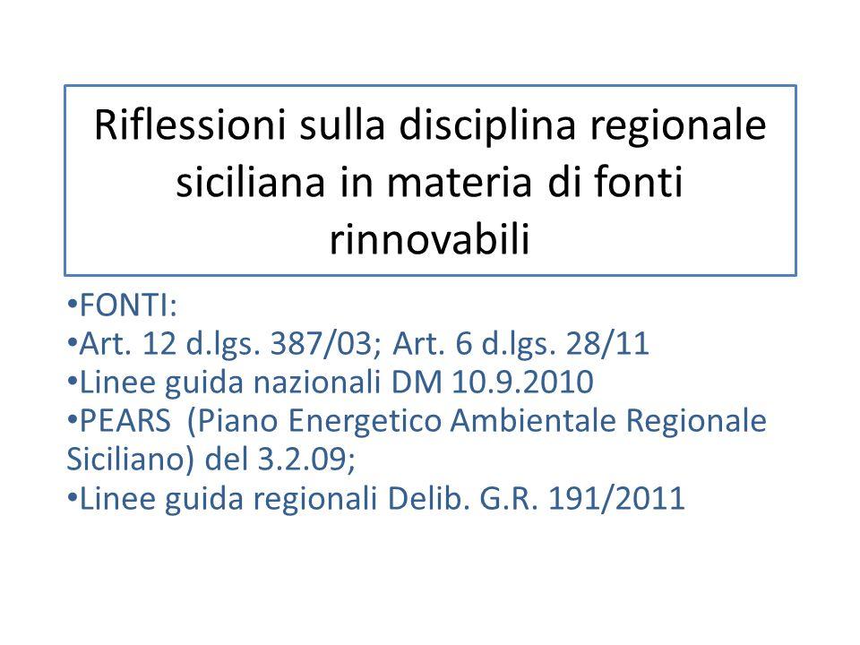 Riflessioni sulla disciplina regionale siciliana in materia di fonti rinnovabili FONTI: Art. 12 d.lgs. 387/03; Art. 6 d.lgs. 28/11 Linee guida naziona