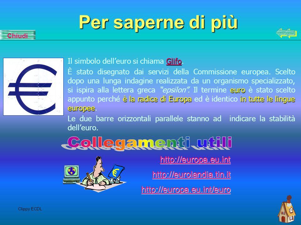 Clippy ECDL Bandiera Dal 1986 lUnione europea ha adottato la bandiera del Consiglio dEuropa, che reca un cerchio formato da dodici stelle doro su uno sfondo azzurro.