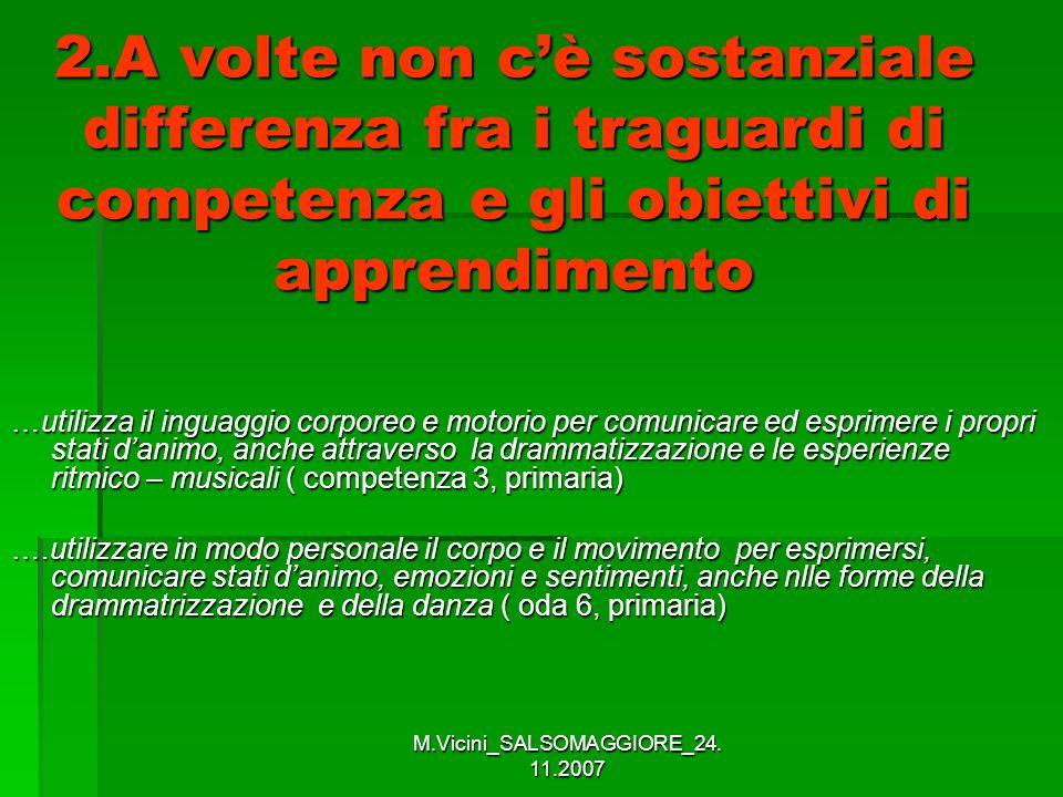 M.Vicini_SALSOMAGGIORE_24. 11.2007 2.A volte non cè sostanziale differenza fra i traguardi di competenza e gli obiettivi di apprendimento …utilizza il