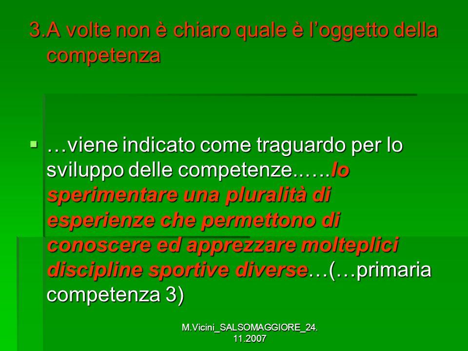 M.Vicini_SALSOMAGGIORE_24. 11.2007 3.A volte non è chiaro quale è loggetto della competenza …viene indicato come traguardo per lo sviluppo delle compe