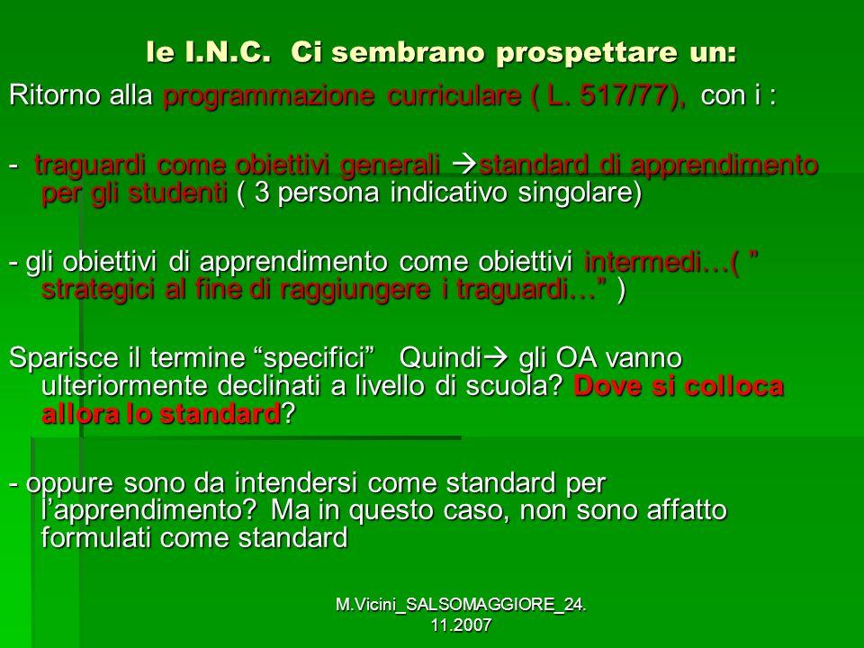 M.Vicini_SALSOMAGGIORE_24. 11.2007 le I.N.C. Ci sembrano prospettare un: le I.N.C. Ci sembrano prospettare un: Ritorno alla programmazione curriculare