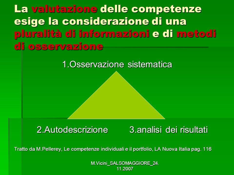 M.Vicini_SALSOMAGGIORE_24. 11.2007 La valutazione delle competenze esige la considerazione di una pluralità di informazioni e di metodi di osservazion