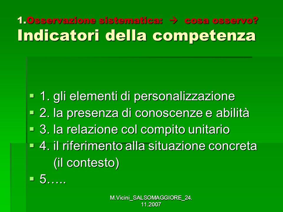 M.Vicini_SALSOMAGGIORE_24. 11.2007 1.Osservazione sistematica: cosa osservo? Indicatori della competenza 1. gli elementi di personalizzazione 1. gli e
