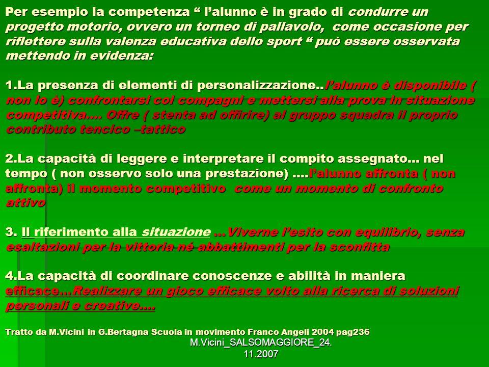 M.Vicini_SALSOMAGGIORE_24. 11.2007 Per esempio la competenza lalunno è in grado di condurre un progetto motorio, ovvero un torneo di pallavolo, come o