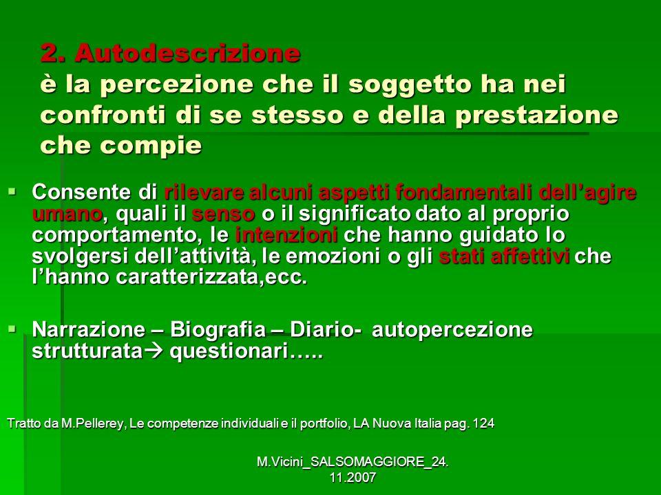 M.Vicini_SALSOMAGGIORE_24. 11.2007 2. Autodescrizione è la percezione che il soggetto ha nei confronti di se stesso e della prestazione che compie Con