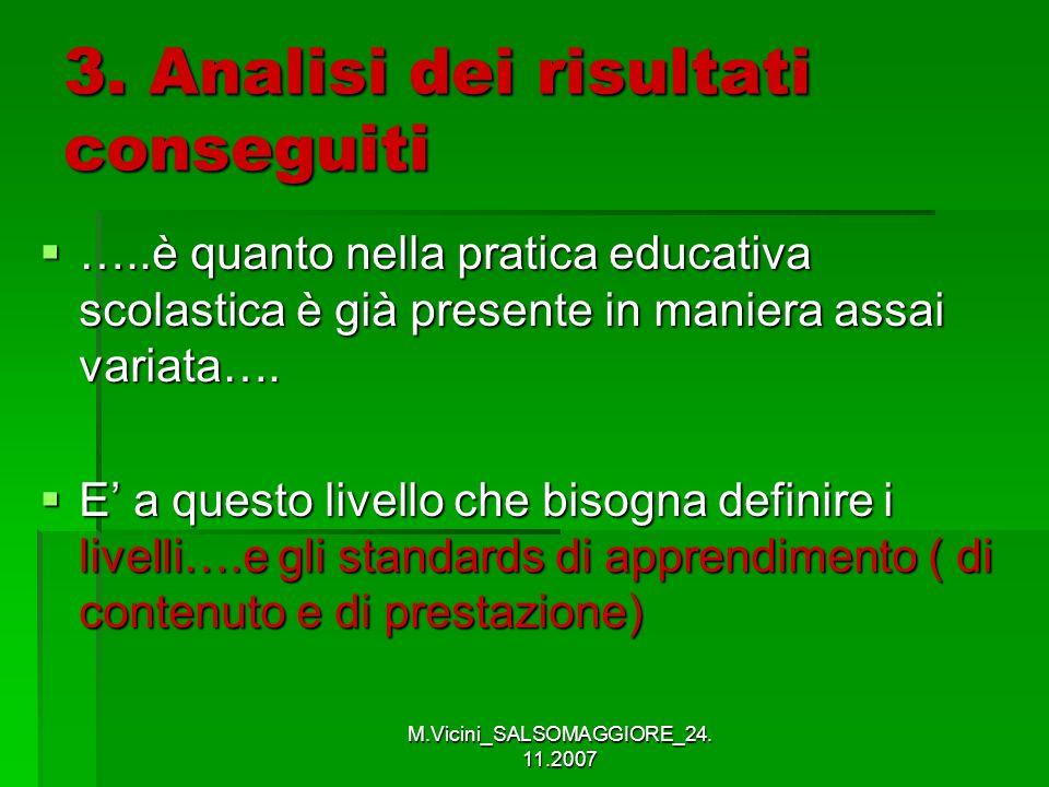 M.Vicini_SALSOMAGGIORE_24. 11.2007 3. Analisi dei risultati conseguiti …..è quanto nella pratica educativa scolastica è già presente in maniera assai