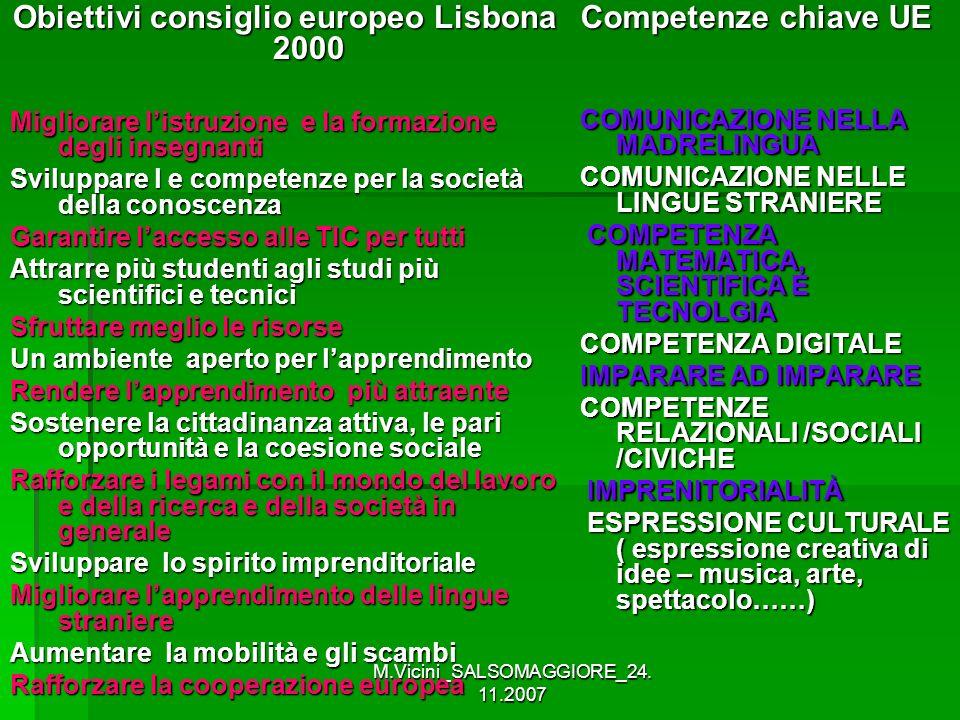 M.Vicini_SALSOMAGGIORE_24. 11.2007 Obiettivi consiglio europeo Lisbona 2000 Migliorare listruzione e la formazione degli insegnanti Sviluppare l e com