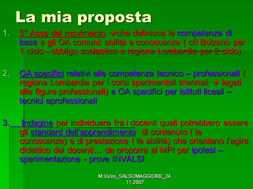 M.Vicini_SALSOMAGGIORE_24. 11.2007 La mia proposta 1.5° Asse del movimento che definisce le competenze di base e gli OA comuni: abilità e conoscenze (