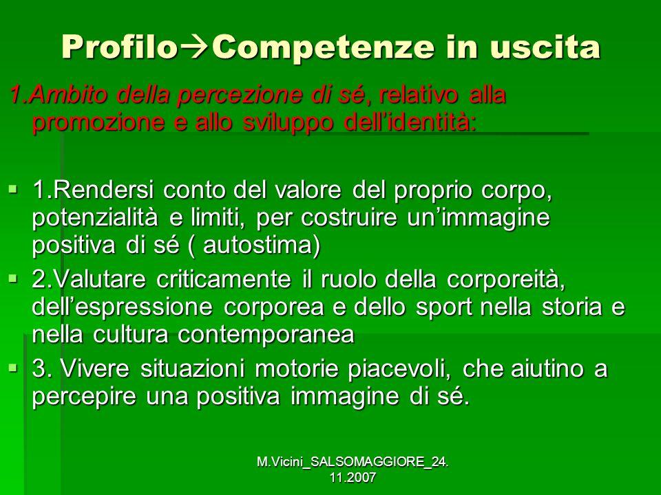 M.Vicini_SALSOMAGGIORE_24. 11.2007 Profilo Competenze in uscita 1.Ambito della percezione di sé, relativo alla promozione e allo sviluppo dellidentità