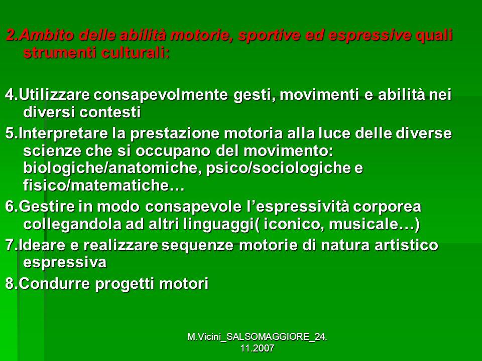 M.Vicini_SALSOMAGGIORE_24. 11.2007 2.Ambito delle abilità motorie, sportive ed espressive quali strumenti culturali: 4.Utilizzare consapevolmente gest