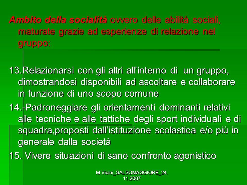 M.Vicini_SALSOMAGGIORE_24. 11.2007 Ambito della socialità ovvero delle abilità sociali, maturate grazie ad esperienze di relazione nel gruppo: 13.Rela