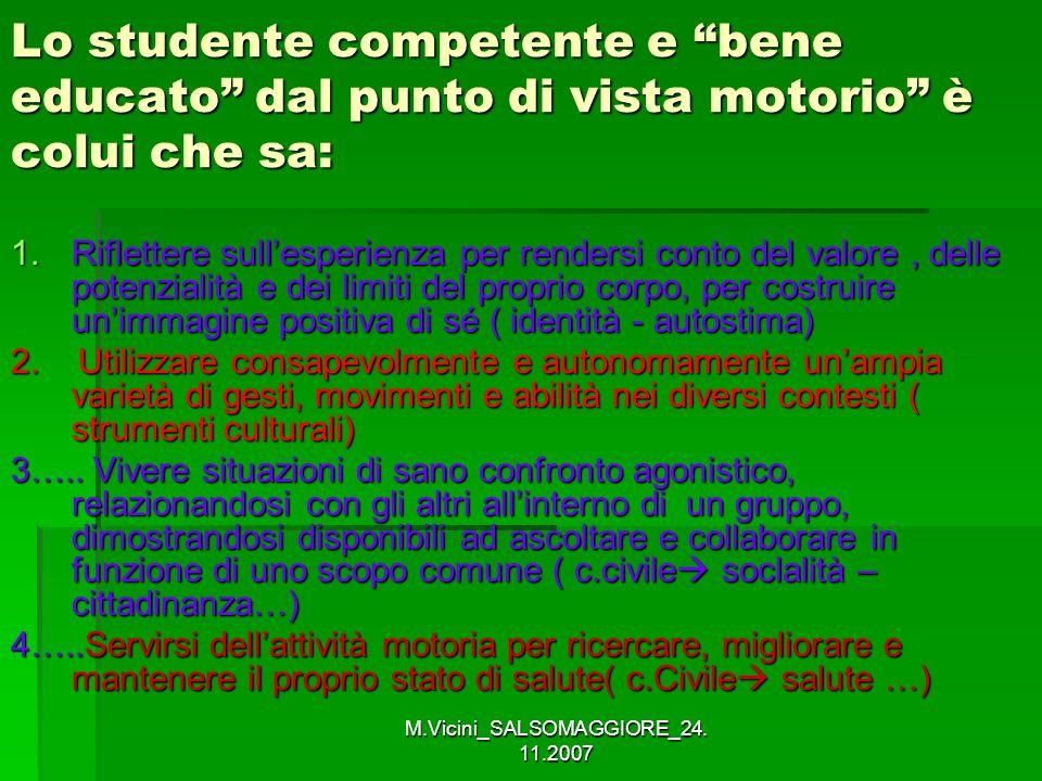 M.Vicini_SALSOMAGGIORE_24. 11.2007 Lo studente competente e bene educato dal punto di vista motorio è colui che sa: 1.Riflettere sullesperienza per re