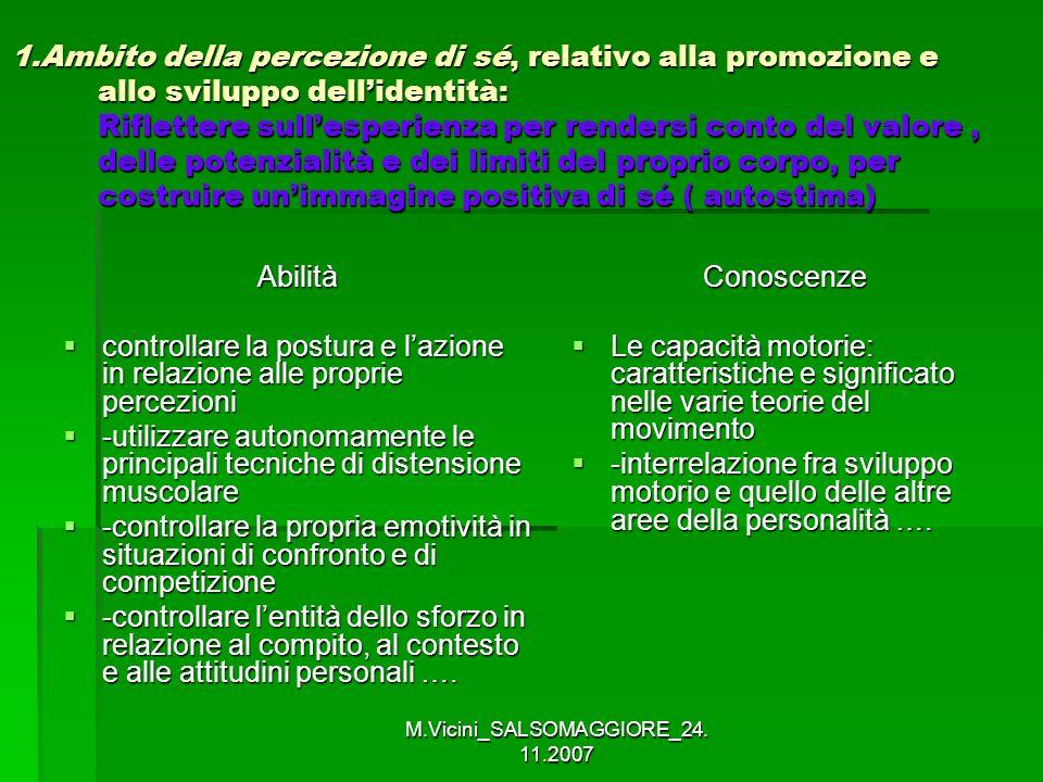 M.Vicini_SALSOMAGGIORE_24. 11.2007 1.Ambito della percezione di sé, relativo alla promozione e allo sviluppo dellidentità: Riflettere sullesperienza p