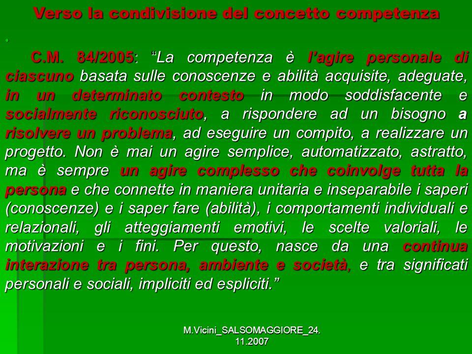 M.Vicini_SALSOMAGGIORE_24. 11.2007 C.M. 84/2005: La competenza è lagire personale di ciascuno basata sulle conoscenze e abilità acquisite, adeguate, i