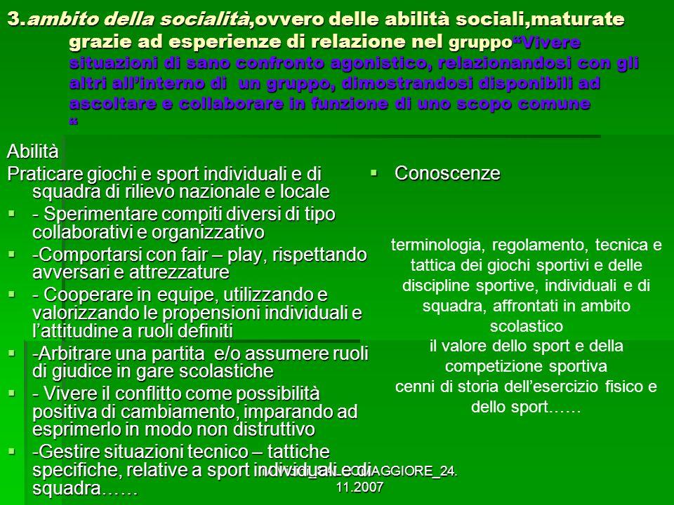 M.Vicini_SALSOMAGGIORE_24. 11.2007 3.ambito della socialità,ovvero delle abilità sociali,maturate grazie ad esperienze di relazione nel gruppoVivere s